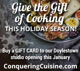 Conquering Cuisine is a gateway into a world of vibrant foods and culinary experiences. The owner, Denis Chiappa, is a chef, cooking instructor, cookbook author and caterer who has gained an understanding and appreciation of food from a variety of perspectives. Conquering Cuisine brings those experiences to you. Looking for a fun and tasty night out? Check out one of the many cooking classes offered throughout the year. Have a special occasion coming up? Conquering Cuisine can make it memorable and stress-free with full-service catering. Having a casual party and just need some help with the menu? No problem, trays are available for both delivery or pickup.